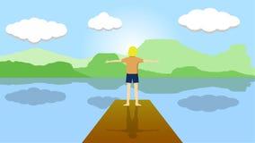 Мальчик в реке стоковые фотографии rf