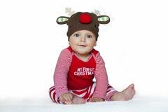 Мальчик в смешном costume оленей Стоковое Изображение RF