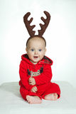 Мальчик в смешном costume оленей стоковое изображение