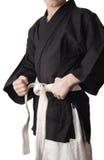 Мальчик в черном кимоно Стоковые Изображения