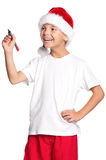 Мальчик в шлеме Санта Стоковое Изображение RF