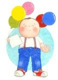 Мальчик держа воздушные шары Стоковое фото RF