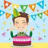 мальчик дня рождения счастливый иллюстрация штока