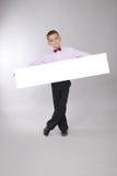 мальчик доски держит белизну Стоковое Фото