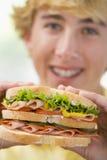 мальчик есть сандвич подростковый Стоковое Изображение