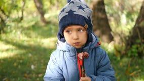 Мальчик ест сочную сосиску сваренную на огне Внешние воссоздание и варить видеоматериал