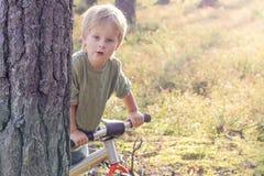 Мальчик ехать велосипед в концепции Lifstyle леса стоковые изображения