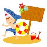 Мальчик играя в пляже Стоковое фото RF