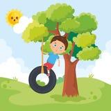 Мальчик играя на парке бесплатная иллюстрация