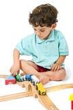 мальчик играя поезд Стоковая Фотография RF