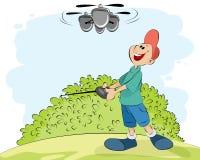 Мальчик играя с вертолетом Стоковое Изображение RF