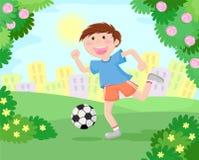 мальчик играя футбол иллюстрация вектора