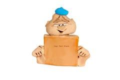 Мальчик игрушки с пустым плакатом Стоковое фото RF