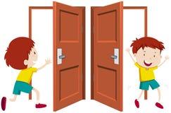 Мальчик идя в и вне дверь иллюстрация вектора