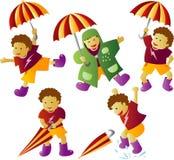 мальчик идя дождь зонтик Стоковое Изображение