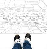 Мальчик или девушка стоя na górze эскиза здания Стоковое Изображение
