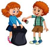 Мальчик и девушка выбирая вверх погань бесплатная иллюстрация