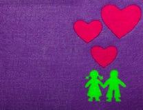 Мальчик и девушка в силуэте влюбленности Стоковые Фото
