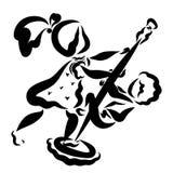 Мальчик и девушка жизнерадостно mop пол, игра иллюстрация штока