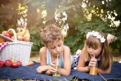 Мальчик и девушка имеют потеху и выпивая сок Стоковое Изображение RF