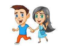 Мальчик и девушка скача счастливо держащ руки, персонажи из мультфильма, стикеры с эмоциями Стоковые Фото