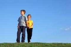 Мальчик и девушка стоят совместно на траве Стоковое Изображение RF