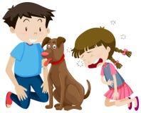 Мальчик и девушка с собакой бесплатная иллюстрация