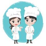 Мальчик и девушка шеф-повара характер для ресторана талисмана иллюстрация вектора
