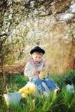 Мальчик и птицы стоковое фото