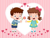 Мальчик и девушка шаржа Стоковое Изображение