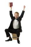 мальчик книги радостный Стоковая Фотография