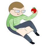 мальчик книги яблока есть его чтение Стоковое фото RF