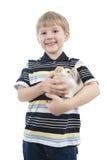 мальчик коробки piggy Стоковая Фотография
