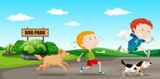 Мальчик, который побежали далеко от собаки иллюстрация вектора
