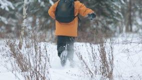 Мальчик леса a зимы бежать прочь после бросать снежный ком сток-видео