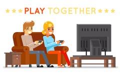 Мальчик маленькой девочки gamer игры совместно смотря игру играть ТВ сидит иллюстрация вектора дизайна персонажа из мультфильма к Стоковая Фотография RF