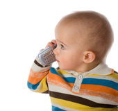 мальчик меньший говорить телефона Стоковые Изображения RF