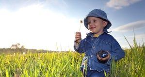 мальчик меньший лужок Стоковая Фотография