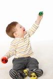 мальчик меньший новый играя s toys год Стоковое Изображение