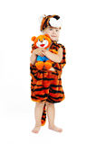 мальчик меньший тигр костюма стоковое изображение rf