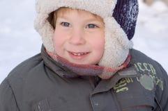 мальчик меньшяя зима портрета Стоковая Фотография