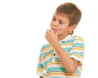 мальчик над думать Стоковые Фотографии RF