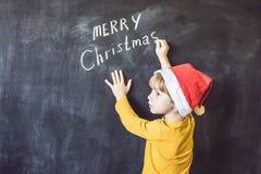Мальчик написал надписи веселое Cristmas рождество моя версия вектора вала портфолио Xma стоковые фото