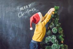 Мальчик написал надписи веселое Cristmas рождество моя версия вектора вала портфолио Xma стоковые изображения rf