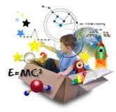 Мальчик науки в коробке космоса с звездами Стоковое фото RF