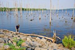 Мальчик на крае резервуара Стоковое Изображение RF