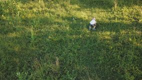 Мальчик на лужайке сток-видео