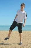 Мальчик на пляже, Стоковое Изображение RF
