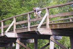 Мальчик на старом северном мосте стоковое фото rf