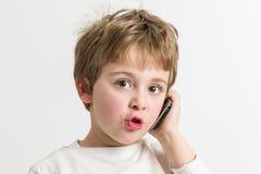 мальчик немногая передвижной говорить Стоковое Изображение
